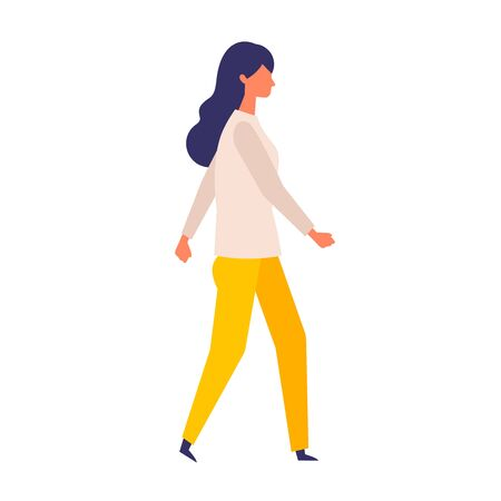 Vector flat illustration of walking woman. Concept for the business and social issues design. Vector illustration in flat style. Standard-Bild - 147815014