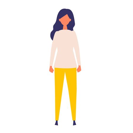 Vector flat illustration of standing woman. Concept for the business and social issues design. Vector illustration in flat style.