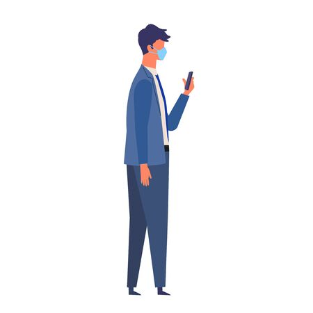 Vector illustration of the businessman texting while walking with a surgical mask.The illustration for the topic of coronavirus, flu and cold. Vector illustration in flat style. Vector Illustration