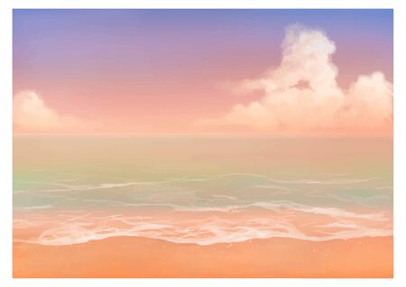 Vector illustration of tropical beach in sunset. Hand painted watercolor illustration background.