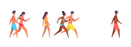 Summer people of various races are walking. Concept for the summer concept illustration. Vector illustration in flat style. Иллюстрация