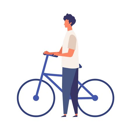 Man get off and walk his bikes at summer. Man have a relaxing day off. Flat cartoon colorful vector illustration.