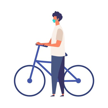 Masked man get off and walk his bikes at summer. Man have a relaxing day off. Flat cartoon colorful vector illustration.