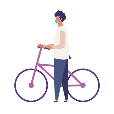 Masked man get off and walk his bikes at autumn. Man have a relaxing day off. Flat cartoon colorful vector illustration.