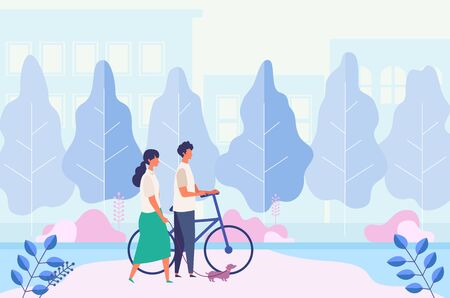 Landscape with couple dating, walking at summer city park. Man and woman have a relaxing day off. Flat cartoon colorful vector illustration. 일러스트