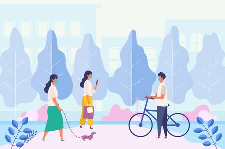 Landscape with masked people walking, texting, relaxing at city park. Men and women have a day off on new normal. Flat cartoon colorful vector illustration.