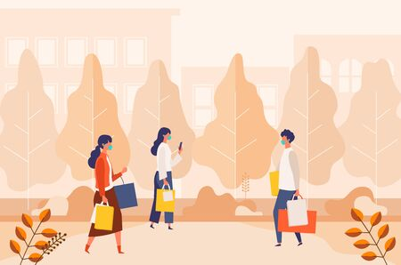 Landscape with masked people carrying shopping bags at autumn city street. Man and woman taking part in seasonal sale at   mall on new normal. Flat cartoon colorful vector illustration.