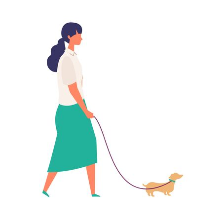 Woman walk her dog at summer. Woman have a relaxing day off. Flat cartoon colorful vector illustration.