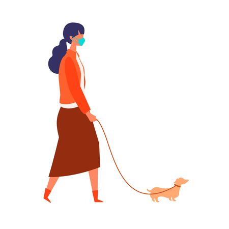Masked woman walk her dog at autumn. Woman have a relaxing day off on new normal. Flat cartoon colorful vector illustration. Illustration