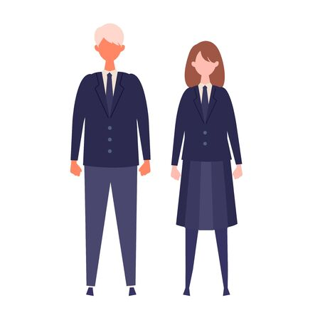 A couple of vector students from high and middle school. Vector illustration of boy and girl in uniform of same color. Isolated graphics.