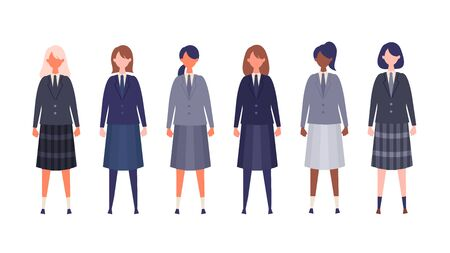 Group of students from high and middle school. Vector illustration of girls in uniform of different colors. Isolated graphics.