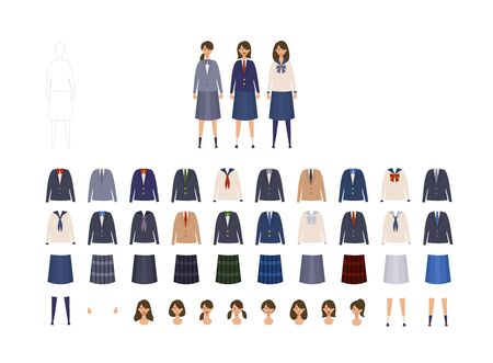 Group of Japanese schoolgirl uniform from high and middle school. Vector illustration of girls in uniform of different colors. Isolated graphics. Vettoriali
