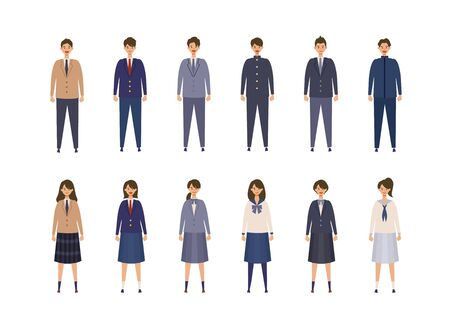 Group of Japanese students from high and middle school. Vector illustration of boys and girls in uniform of different colors. Isolated graphics.