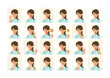 Face expressions of a healthcare professional woman in white uniform. Different female emotions and poses set. Isolated vector illustration icons set in flat style.