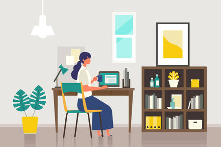 Stay at home concept. Vector illustration of woman in the study room. Woman checking internet by computer. Flat cartoon colorful vector illustration.