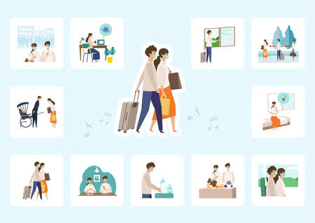Vector illustration of people enjoy traveling while transmission risks. Concept art for 'Traveling in the New Normal'.'Traveling in the New Normal' for present the spread of virus were bestgeted by a meeting of Japan's experiences. 일러스트