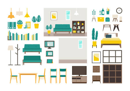 Set of vector interiors with furniture. Isolated modern flat vector illustrations of various interiors. Stay at home concept.