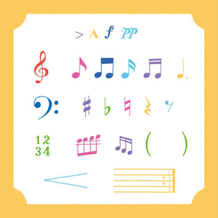 Illustration of isolated musical note and treble clef. Design layout for banners presentations, flyers, posters and invitations. Vector modern flat design musical notes.