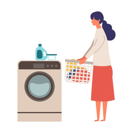 Vector illustration of woman using a washing machine. Woman doing housework. Stay at home concept.