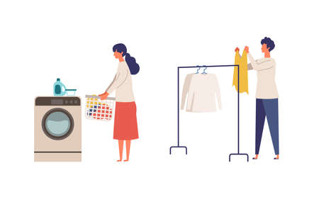 Vector illustration of a couple doing their laundry. People doing housework. Stay at home concept.