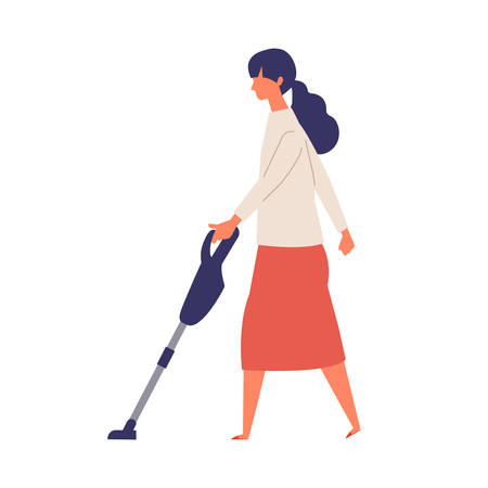 Vector illustration of people vacuuming the room. People doing housework. Stay at home concept.