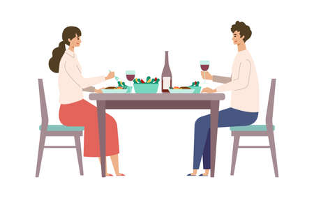 Vector illustration of a couple eating dinner together. People doing housework. Stay at home concept.