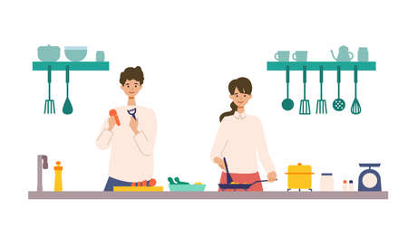 Vector illustration of a couple cooking in the kitchen together. People doing housework. Stay at home concept.