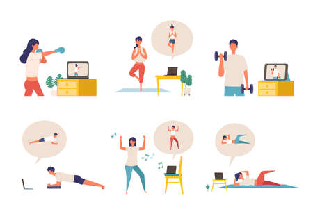 Online fitness concept. Work out via monitor, laptop, tablet. Vector illustration of a people relaxing in their home. Collection of people working out at home. Illusztráció