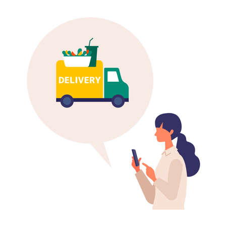 Vector illustration for the online delivery service concept. Woman ordered food on app. Food delivery concept.