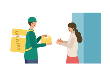 Vector illustration for the online delivery service concept. Woman received her order. Isolated graphics.