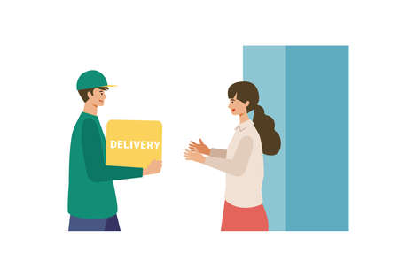 Vector illustration for the online delivery service concept. Woman received courier. Isolated graphics.