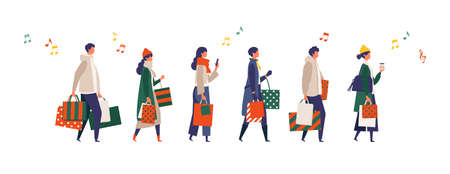 Some people carrying shopping bags at Christmas. Man and woman taking part in seasonal sale at store, shop, mall. Flat cartoon colorful vector illustration. Vector Illustratie
