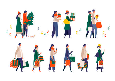 Some people performing christmas outdoor activities. Shopping, walking, drinking and texting from phone. Flat cartoon colorful vector illustration.