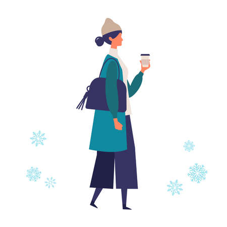 A young woman walking in winter. Stylish woman walking around the street. Flat cartoon colorful vector illustration.