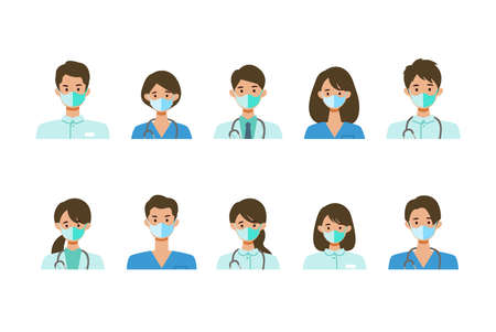 Masked healthcare staff in uniform. Different people smiles set. Isolated vector illustration icons set in flat style.