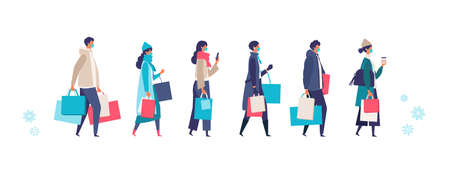 Masked people carrying shopping bags at winter. Man and woman taking part in seasonal sale at store, shop, mall on new normal lifestyle. Flat cartoon colorful vector illustration.
