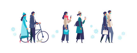 Men and women have a day off on new normal. Shopping, dating and walking. Flat cartoon colorful vector illustration. 向量圖像