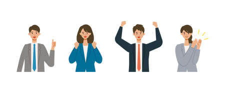 Positive gestured businessman and woman in suits. Different people smiles set. Isolated vector illustration icons set in flat style. Illusztráció
