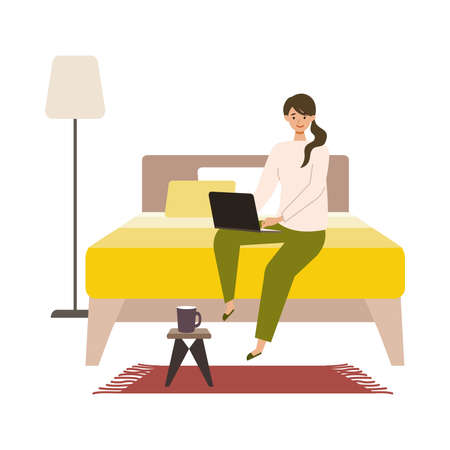 Vector illustration of woman checking the web in the autumn. Woman have a relaxing day off. Stay at home concept.