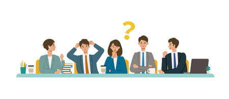 Business conference concept. Vector illustration of people having a meeting. Concept for conference, boardroom. Flat design vector illustration of working people. Illustration
