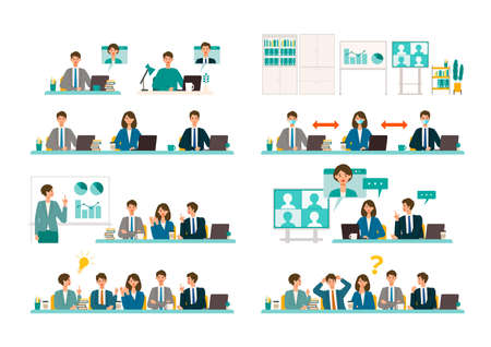 Business conference concept. Vector illustration of people having a meeting. Concept for conference, boardroom. Flat design vector illustration of working people. Vector Illustration