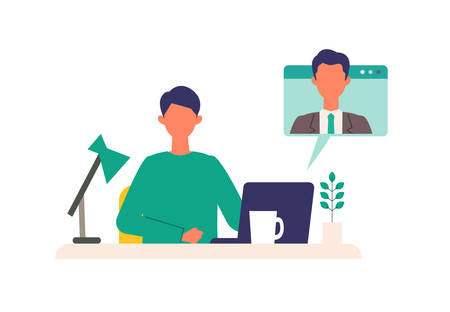 Business conference concept. Vector illustration of business people telecommuting. Flat design vector illustration of working people.