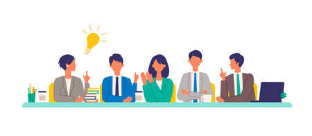 Business conference concept. Vector illustration of people having a meeting. Concept for conference, boardroom. Flat design vector illustration of working people.