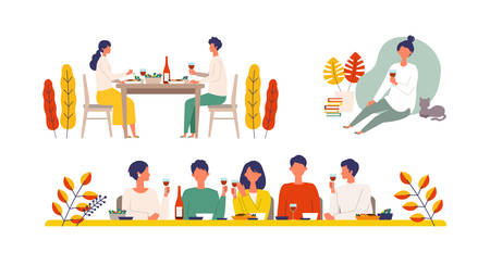 Vector illustration of people eating dinner together in the autumn. People enjoy drinking wine. Stay at home concept.