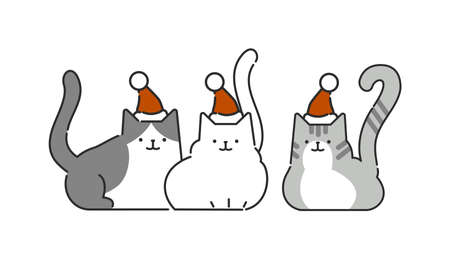 Set of Christmas cats in different poses. Vector illustration in flat style. Animal concept. Ilustração