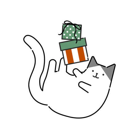 Illustaration of an amusing cat with Christmas gift box. Vector illustration in flat style.