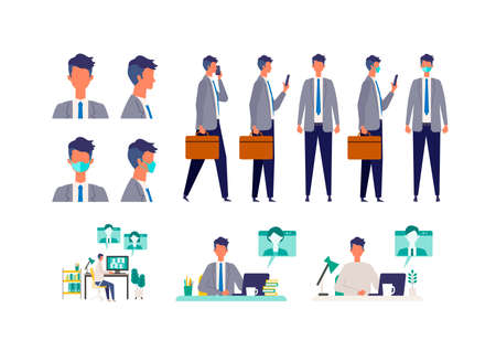 Set of masked businessman in different poses. Concept for teleworking. Vector illustration in flat style.