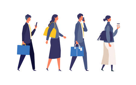 Commute of working businessmen. Flat design vector illustration of business people. Concept for commuting.