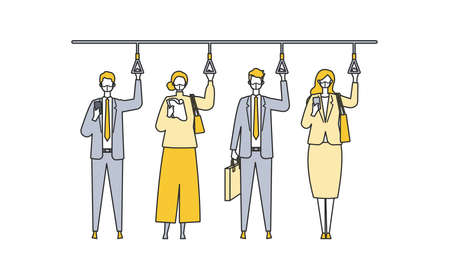A day of working businessmen in the new normal lifestyles. Flat design vector illustration of masked business people. Concept for teleworking. Ilustração