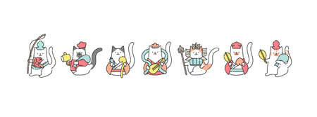Vector illustrations of 'The Seven Gods of Fortune' in Japanese Mythology. Isolated flat graphics.